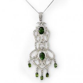 Genuine 7.65ct Green Tourmaline & Diamond Necklace Gold