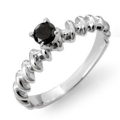 Natural 0.20 ctw Black Diamond Ring 14K White Gold
