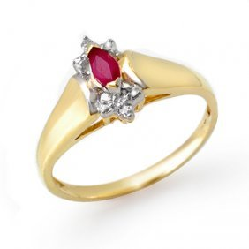 Genuine 0.22 Ctw Ruby & Diamond Ring 10K Yellow Gold