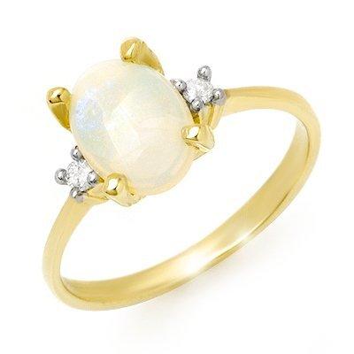 Genuine 1.28 ctw Opal & Diamond Ring 10K Yellow Gold