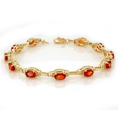 Genuine 8.0 ctw Orange Sapphire Bracelet 10K Yellow Gol