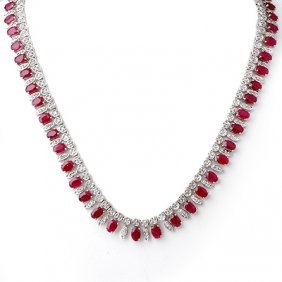 Genuine 41 ctw Ruby & Diamond Necklace White Gold