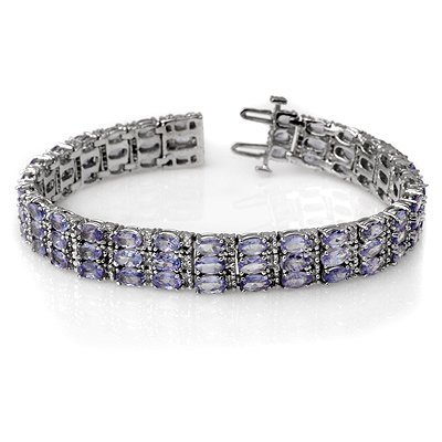 Genuine 18.26ctw Tanzanite & Diamond Bracelet 14K Gold