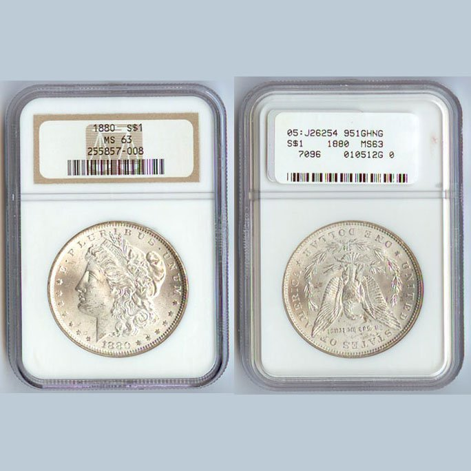 1880 Morgan Silver Dollar Coin NGC MS63