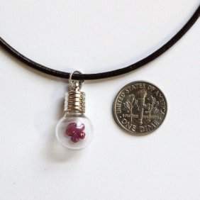 415800102: Round Glass Necklace with 1ct Natural Ruby f