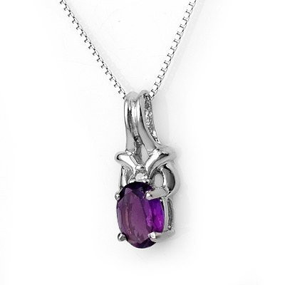 Genuine 0.77ctw Amethyst & Diamond Necklace White Gold