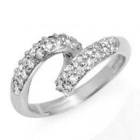 Natural 0.60 Ctw Diamond Ring 10K White Gold