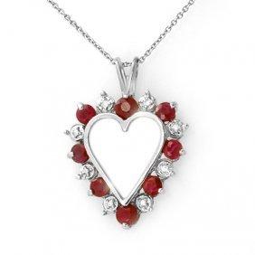 Genuine 1.01 Ctw Ruby & Diamond Pendant White Gold