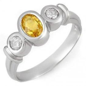 Genuine 1.05 Ctw Yellow Sapphire & Diamond Ring Gold