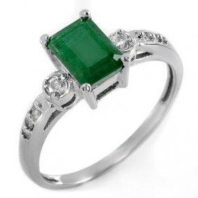 Genuine 1.45 Ctw Emerald & Diamond Ring 10K White Gold