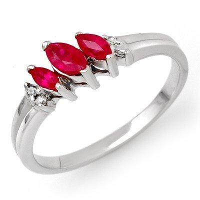 Genuine 0.29 ctw Ruby & Diamond Ring 10K White Gold