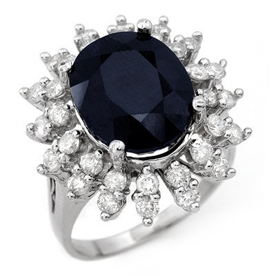 Genuine 9.85ctw Sapphire & Diamond Ring 14K White Gold
