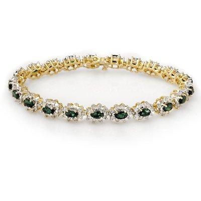 Genuine 9.42 ctw Emerald & Diamond Bracelet Yellow Gold