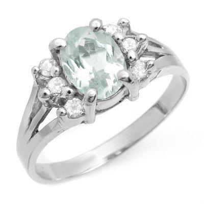 Genuine 1.43 ctw Aquamarine & Diamond Ring 14K Gold
