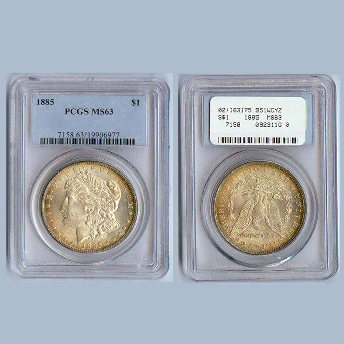 1885 Morgan Silver Dollar Coin PCGS MS63