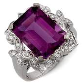 Genuine 925 ctw Amethyst  Diamond Ring 14K White Gold