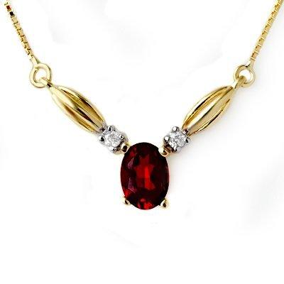 Genuine 1.30 ctw Garnet & Diamond Necklace Yellow Gold