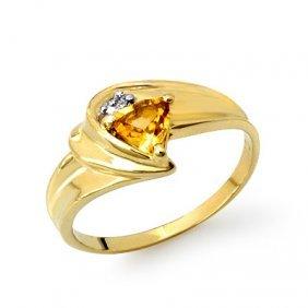 Genuine 0.41 ctw Citrine & Diamond Ring 10K Yellow Gold