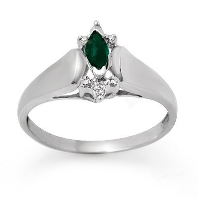 Genuine 0.22 ctw Emerald & Diamond Ring 10K White Gold