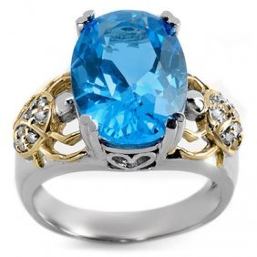 Genuine 8.20 Ctw Blue Topaz & Diamond Ring 2Tone Gold