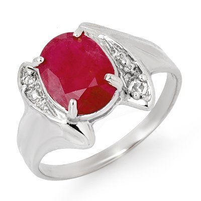 Genuine 3.12 ctw Ruby & Diamond Ring 14K White Gold