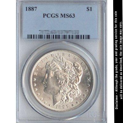 1887 Morgan Silver Dollar PCGS Certified MS63