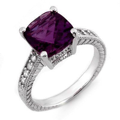 Genuine 3.75 ctw Amethyst & Diamond Ring 14K White Gold