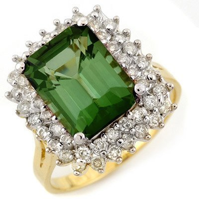 Genuine 4.75ct Green Tourmaline & Diamond Ring 14K Gold