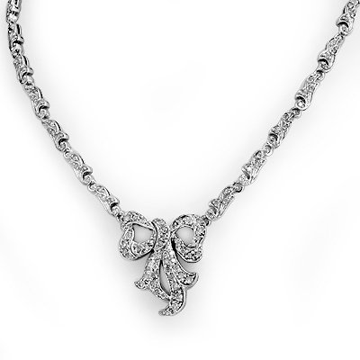 Natural 2.50 ctw Diamond Necklace 14K White Gold