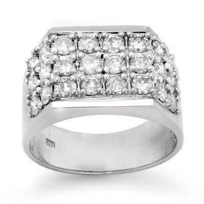 Natural 2.0 ctw Diamond Men's Ring 14K White Gold