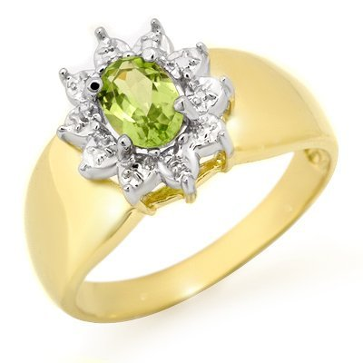Genuine 0.46 ctw Peridot Ring 10K Yellow Gold