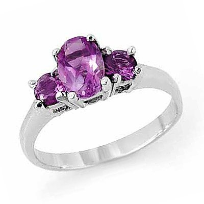 Genuine 0.85 ctw Amethyst Ring 10K White Gold
