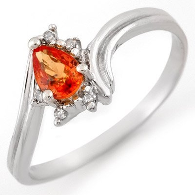 Genuine 0.35ctw Orange Sapphire & Diamond Ring 10K Gold
