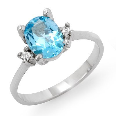 Genuine 1.53 ctw Blue Topaz & Diamond Ring 10K Gold
