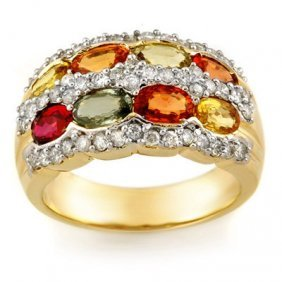 Genuine 3.75 Ctw Multi-Sapphire & Diamond Ring 14K Yell