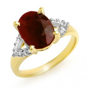 Genuine 5.55 Ctw Ruby & Diamond Ring 10K Yellow Gold