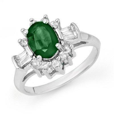Genuine 1.98 ctw Emerald & Diamond Ring 14K White Gold