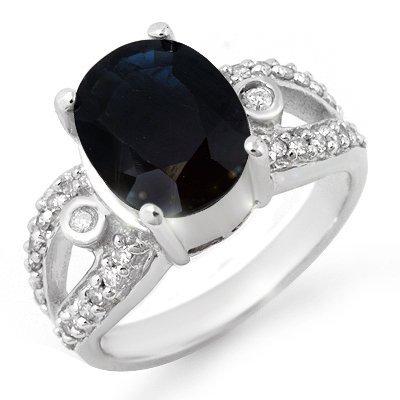 Genuine 5.25 ctw Sapphire & Diamond Ring 10K White Gold