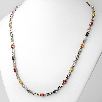 Genuine 9.02 ctw Multi-Sapphire & Diamond Necklace Gold