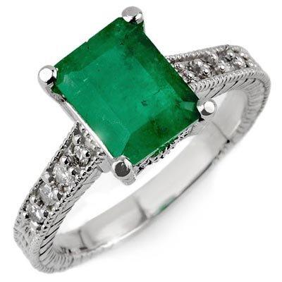 Genuine 2.75 ctw Emerald & Diamond Ring 14K White Gold
