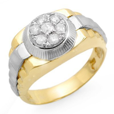 Natural 0.50 ctw Diamond Men's Ring 10K Multi tone Gold