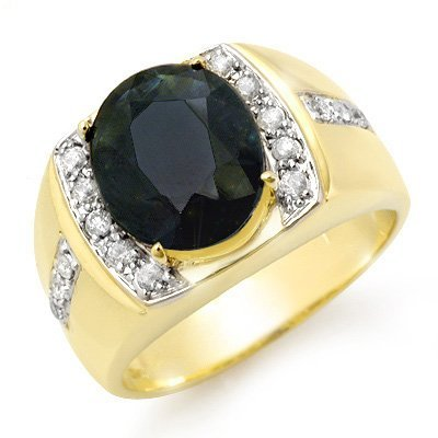 Genuine 6.33 ctw Sapphire & Diamond Men's Ring 10K Gold