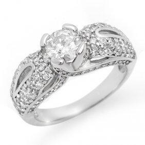 Natural 1.90 Ctw Diamond Ring 14K White Gold