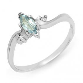 Genuine 0.29 Ctw Blue Topaz & Diamond Ring 10K Gold