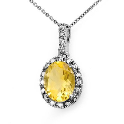Genuine 2.05 ctw Citrine & Diamond Pendant White Gold