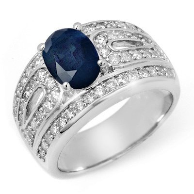 Genuine 2.44 ctw Sapphire & Diamond Ring 14K White Gold