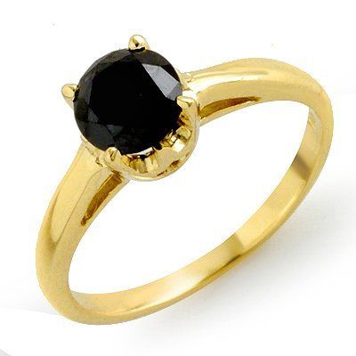 Natural 1.0 ctw Black Diamond Ring 14K Yellow Gold