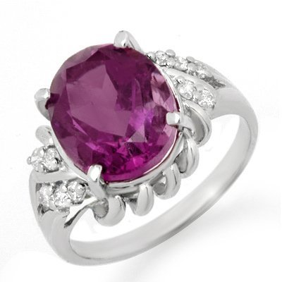 Genuine 3.21 ctw Amethyst & Diamond Ring 10K White Gold