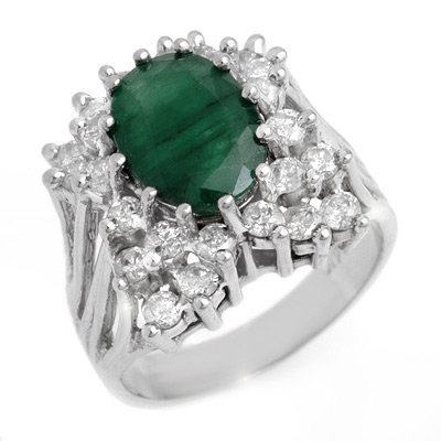 Genuine 4.75 ctw Emerald & Diamond Ring 14K White Gold