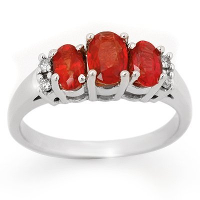 Genuine 1.29 ctw Red Sapphire & Diamond Ring 10K Gold